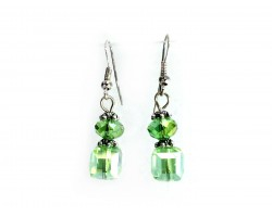 Light Green Crystal Cube Hook Earrings