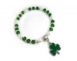 Green Crystal Clover White Pearl Stretch Bracelet
