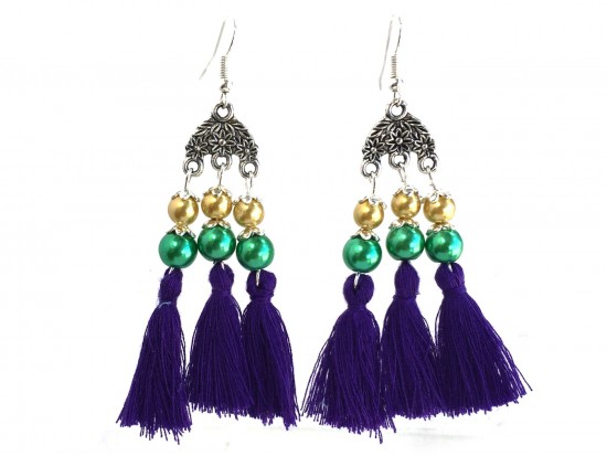 Mardi Gras Chandelier Pearl Tassel Hook Earrings