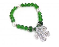 Green White Flower Crystal Stretch Bracelet