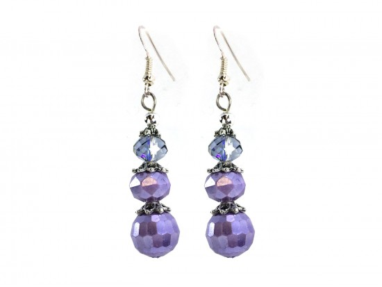 Lilac Faceted Pearlized Bead  Hook Earring
