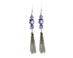 Lilac Faceted Pearlized Bead Tassel Hook Earring
