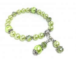Light Green Crystal Pearled Bead Stretch Bracelet