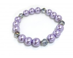 Light Purple Crystal Pearled Bead Stretch Bracelet