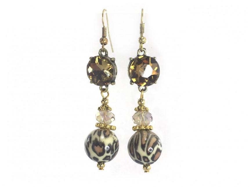 Leopard Bead Brown Crystal Gold Hook Earrings