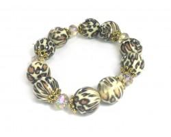 Leopard Bead Brown Crystal Stretch Bracelet