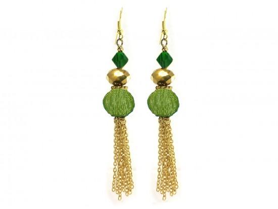 Green Gold Mesh Crystal Tassel Hook Earrings