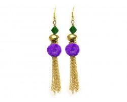 Mardi Gras Mesh Crystal Tassel Hook Earrings