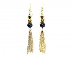 Black Gold Bead Crystal Tassel Hook Earrings