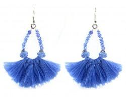 Light Blue Crystal Teardrop Tassel Hook Earrings