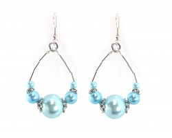 Light Blue Pearl Like Beads Teardrop Hook Earrings