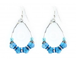 Turquoise Crystal Bead Teardrop Hook Earrings