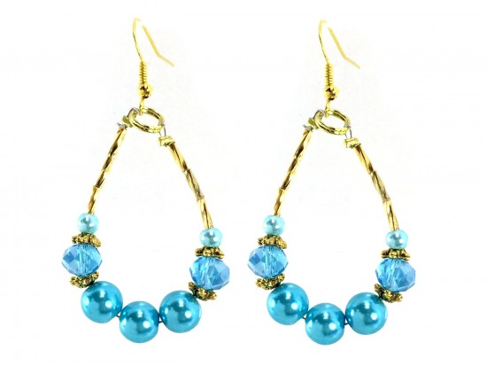 Turquoise Pearl Crystal Teardrop Gold Hook Earrings