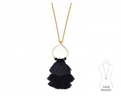 Black Tassel Cascade Gold Loop Necklace