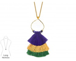 Mardi Gras Tassel Cascade Gold Loop Necklace