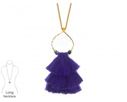Purple Tassel Cascade Gold Loop Necklace
