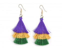 Mardi Gras 3 Tier Cloth Tassel Hook Earrings