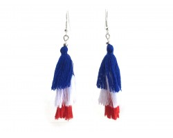 Red White Blue Cloth Tassel Hook Earrings