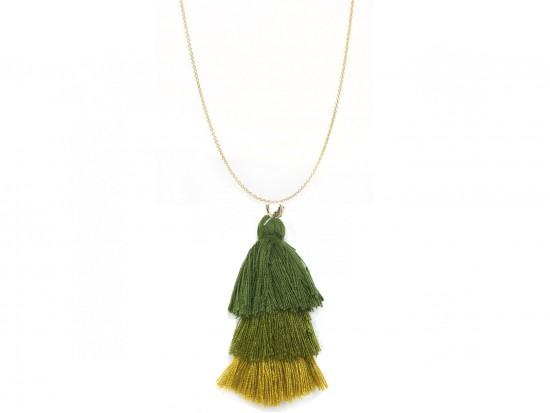 Green 3 Tier Cloth Tassel Gold Necklace