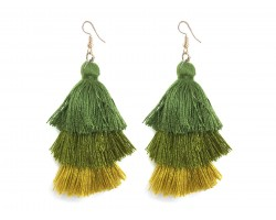 Green 3 Tier Large Cloth Tassel Hook Earrings