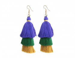 Mardi Gras 3 Tier Large Cloth Tassel Hook Earrings