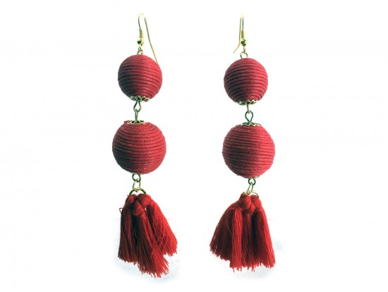 Red Thread Wrap Ball Cloth Tassel Hook Earrings