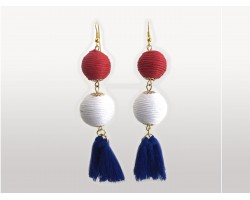 Red White Blue Thread Wrap Ball Cloth Tassel Hook Earrings