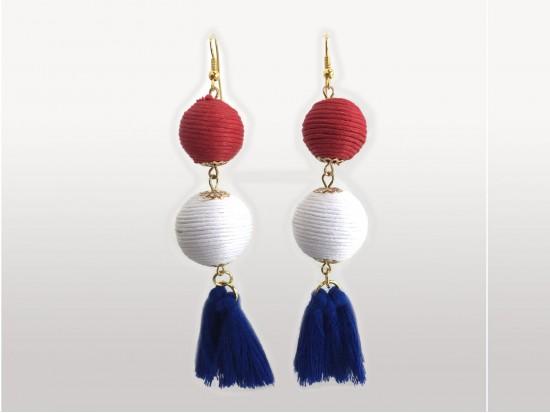 Red White Blue Thread Wrap Ball Cloth Tassel Hook Earrings