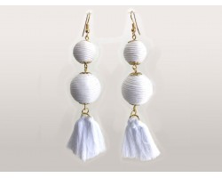 White Thread Wrap Ball Cloth Tassel Hook Earrings