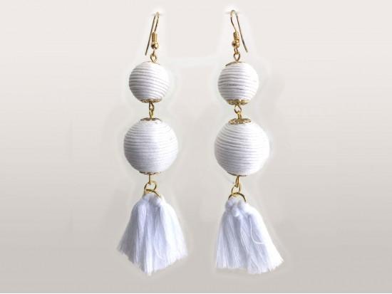 White Thread Wrap Ball Cloth Tassel Hook Earrings