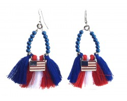 USA Flag Teardrop Cloth Tassel Hook Earrings
