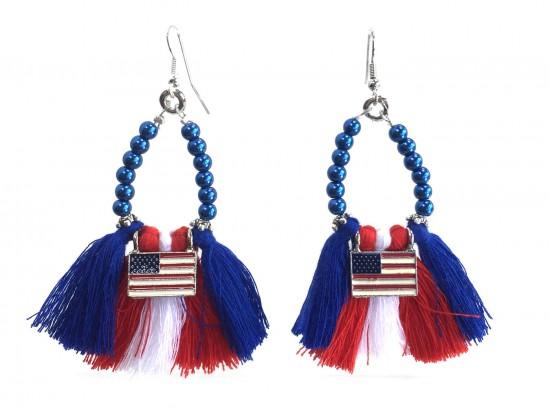 USA Flag Teardrop Cloth Tassel Hook Earrings