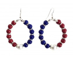 Red White Blue Round Loop Bead Hook Earrings