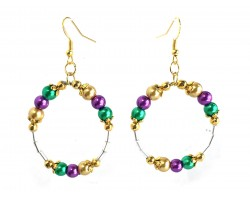 Mardi Gras Pearl Round Loop Tube Gold Earrings