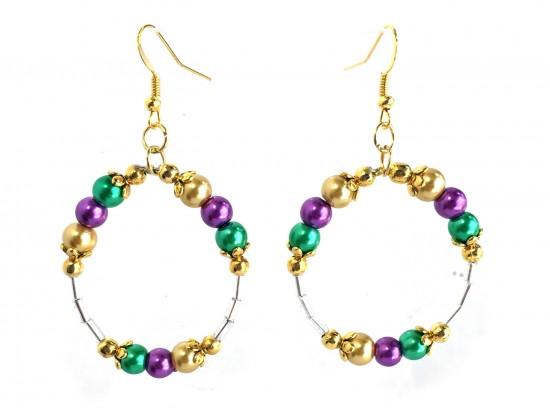 Mardi Gras Pearl Round Loop Tube Gold Earrings