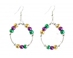 Mardi Gras Pearl Round Loop Tube Silver Earrings