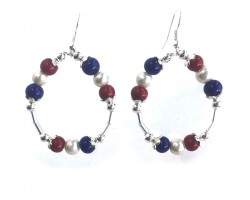 Red White Blue Round Loop Tube Hook Earrings
