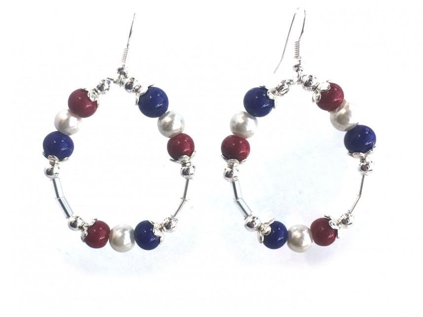 Red White Blue Round Loop Hook Earrings