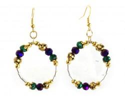 Mardi Gras Crystal Round Loop Tube Gold Earrings