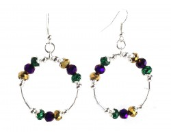 Mardi Gras Crystal Round Loop Tube Silver Earrings