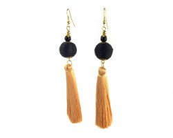 Black Gold Tassell Thread Wrap Bead Hook Earrings