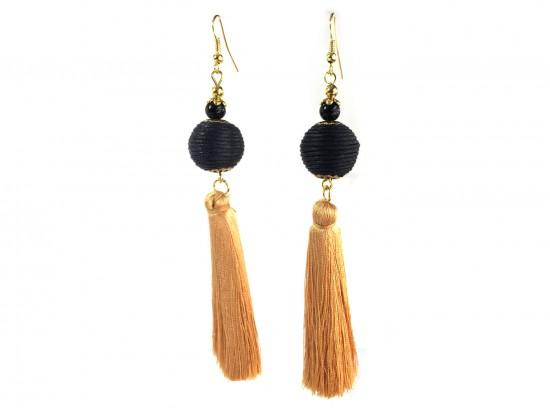 Black Gold Tassell Thread Wrap Bead Hook Earrings