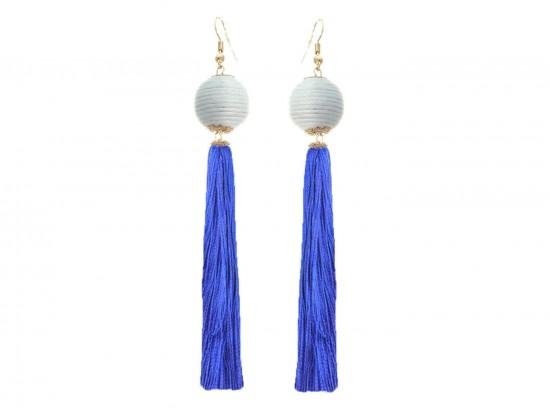 Blue White Thread Bead Tassel Hook Earrings