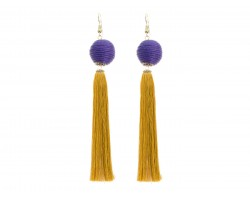 Purple Gold Tassell Thread Wrap Bead Hook Earrings