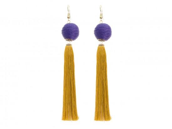 Purple Gold Tassell Thread Wrap Bead Hook Earrings