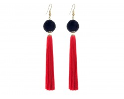 Red Black Tassell Thread Wrap Bead Hook Earrings