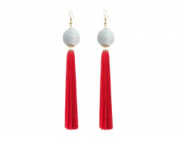 Red White Tassell Thread Wrap Bead Hook Earrings