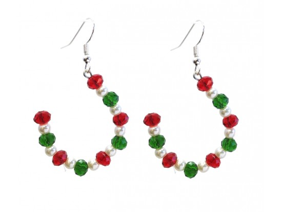 Red Green White Crystal Pearl Half Loop Hook Earrings