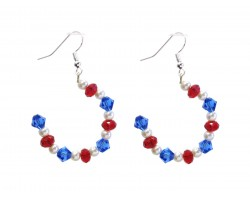 Red White Blue Crystal Pearl Half Loop Hook Earrings