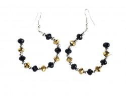 Black Gold Crystal Half Loop Silver Hook Earrings